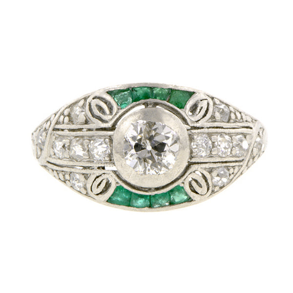 Art Deco Diamond & Emerald* Ring::