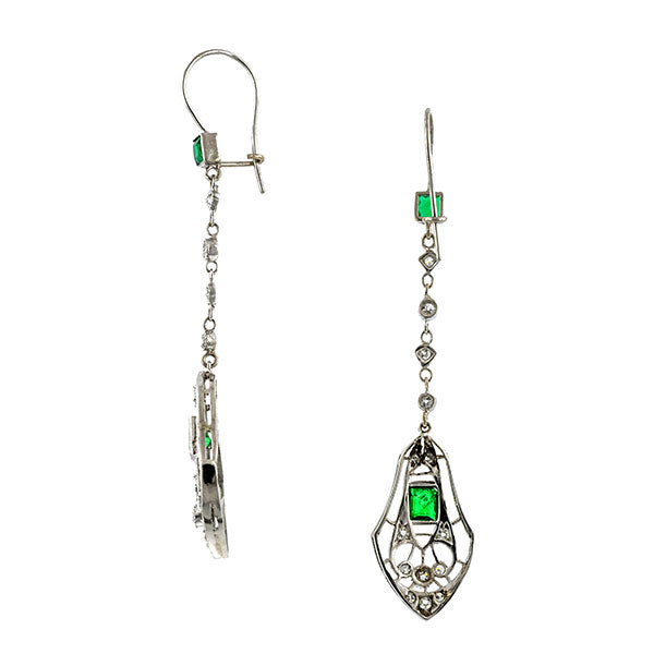 Art Deco Emerald & Diamond Earrings::Doyle & Doyle