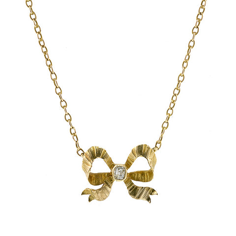 Antique Diamond Bow Necklace