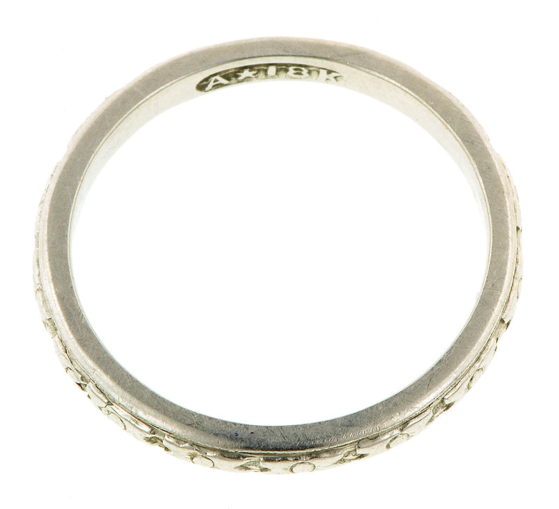 Patterned White Gold Wedding Band