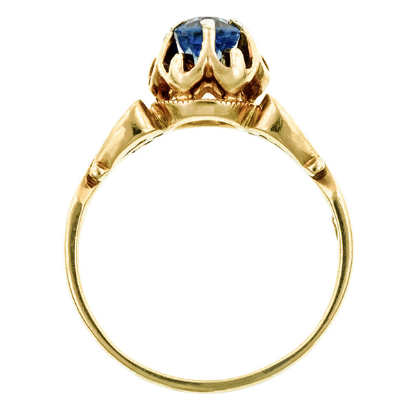 Victorian Sapphire Solitaire Ring, Cushion; 1.08ct