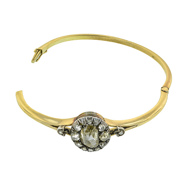 Victorian Rose Cut Diamond Bangle::Doyle & Doyle
