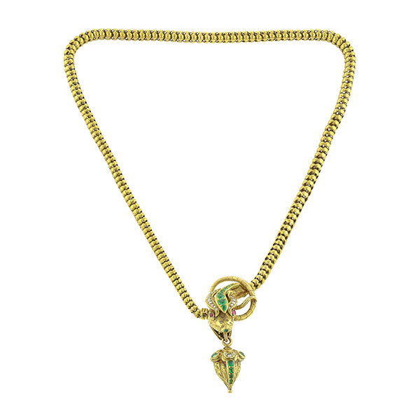 Emerald & Diamond Snake Necklace:: Doyle & Doyle