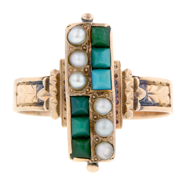 Victorian Turquoise & Pearl Ring::Doyle & Doyle