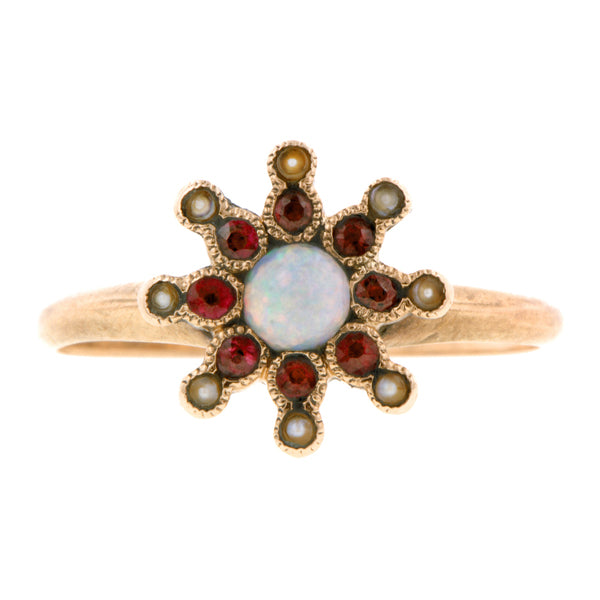 Antique Opal, Ruby & Pearl Ring:: Doyle & Doyle