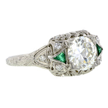 Art Deco Diamond & Emerald* Engagement Ring, TRB 1.06ct: