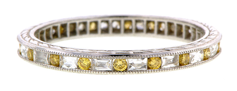 Channel Set Yellow & White Diamond Eternity Wedding Band Ring