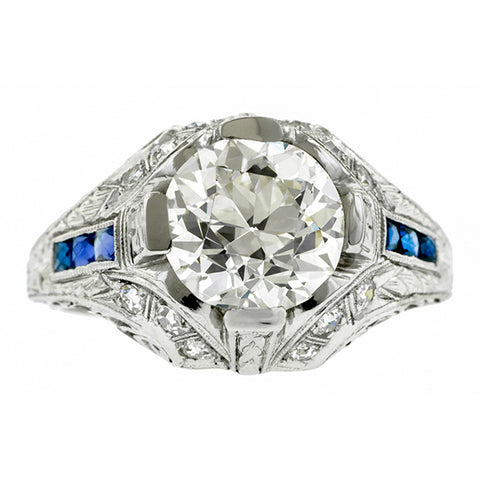 Art Deco Diamond Engagement Ring, Circular Brilliant; 2.20ct