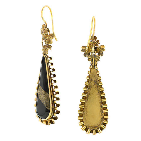 Victorian Agate & Gold in Quartz Drop Earrings:: Doyle & Doyle