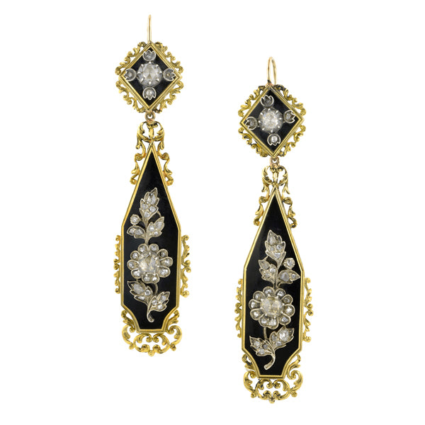 Georgian Rose Cut Diamond Enamel Drop Earrings