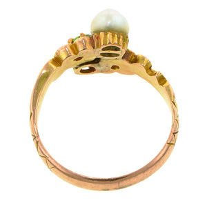 Art Nouveau Demantoid Garnet & Pearl Ring