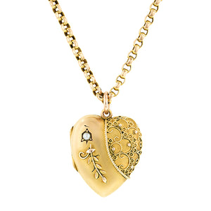Antique Heart Locket & Chain:: Doyle & Doyle