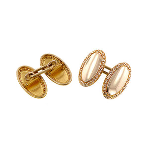 Antique Oval Embossed Edge Cufflinks