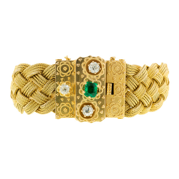 Victorian Emerald & Diamond Clasp Braided Bracelet