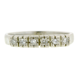 Vintage Diamond Wedding Band, White Gold, sold by Doyle & Doyle vintage and antique jewelry boutique.