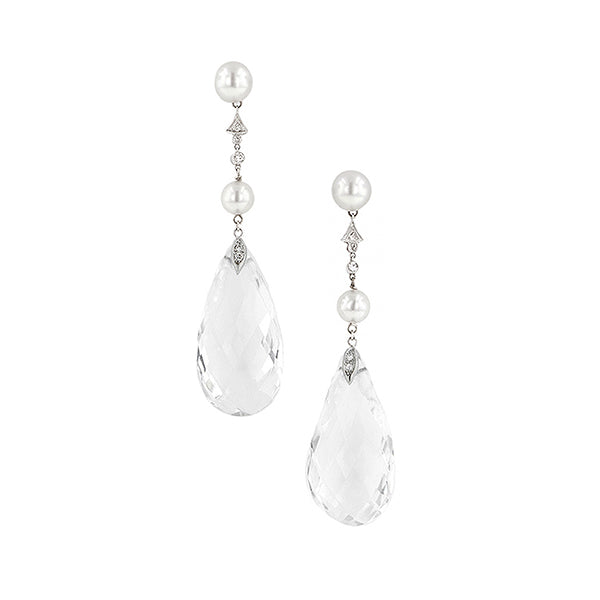 Pearl* & Rock Crystal Drop Earrings: : Doyle & Doyle