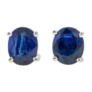 Oval Faceted Sapphire Stud Earrings sold by Doyle & Doyle vintage and antique jewelry boutique.