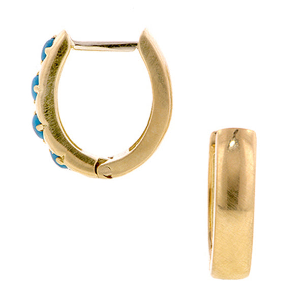 Turquoise Huggie Earrings- Heirloom by Doyle & Doyle::