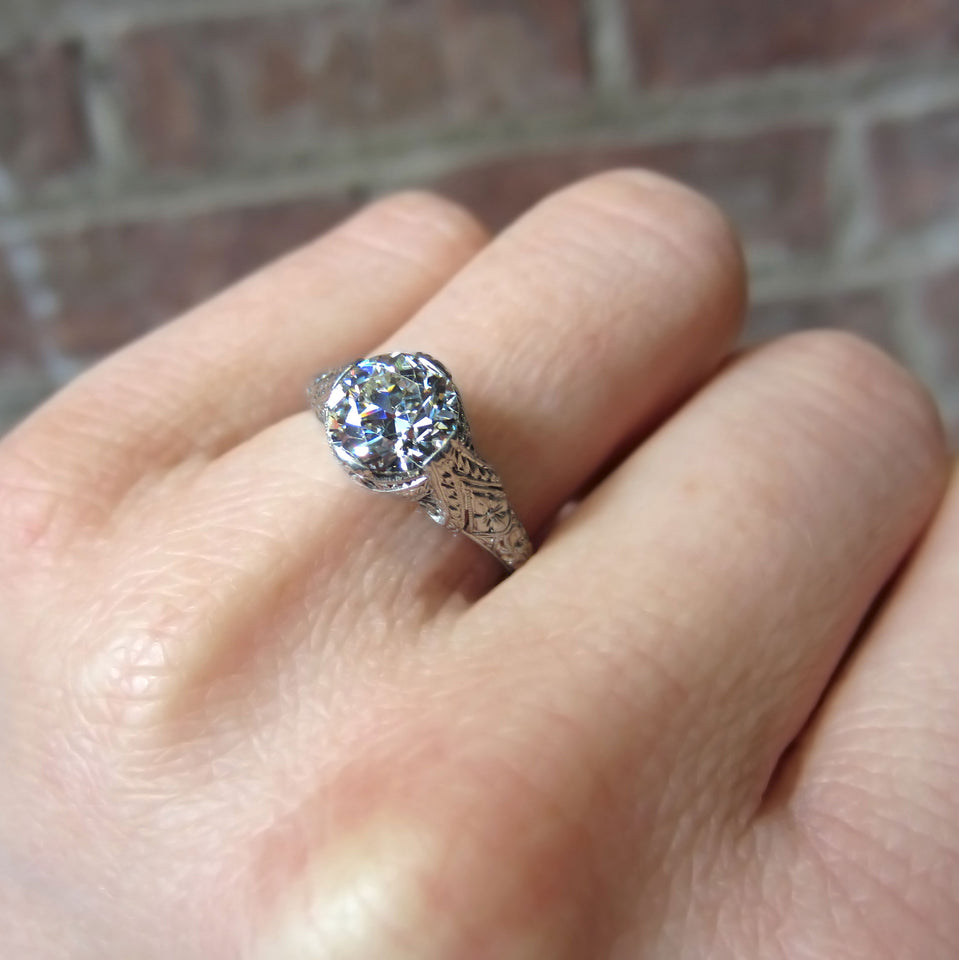 Art Deco Diamond Solitaire Filigree Engagement Ring, Old Euro 1.50ct:: Doyle and Doyle
