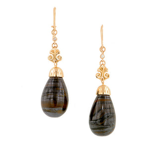 Tiger's Eye & Diamond Drop Earrings- Heirloom by Doyle & Doyle::