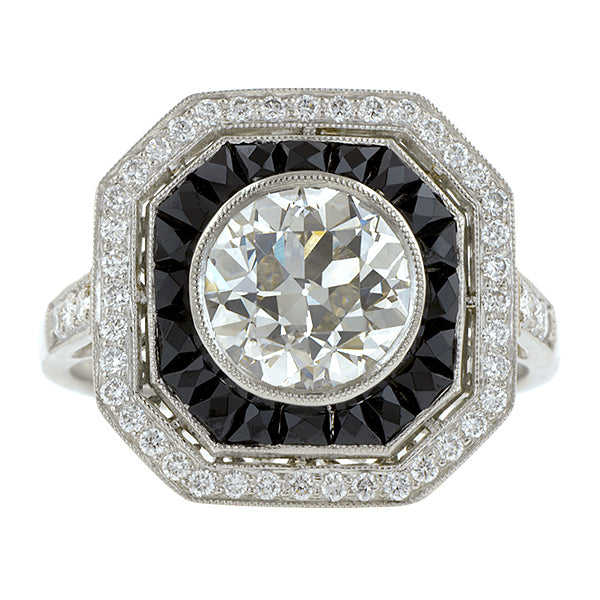 Diamond & Onyx Ring, Old Euro 1.95ct