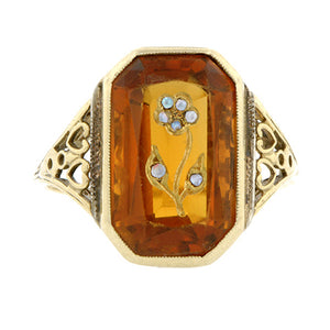 Antique Engraved Flower Citrine Ring