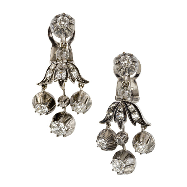 Victorian Silver Topped Diamond Drop Earrings:: Doyle & Doyle