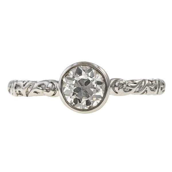 Old Euro 0.73ct. Bezel Engagement Ring- Heirloom by Doyle & Doyle, sold by Doyle & Doyle an antique and vintage jewelry store.
