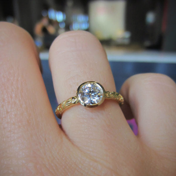 Old Euro 0.59ct Bezel Engagement Ring-Heirloom by Doyle & Doyle