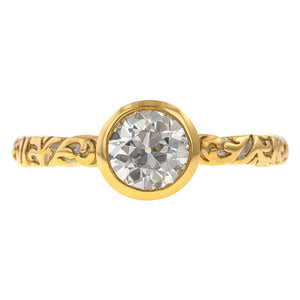 Old Euro .73ct Bezel Engagement Ring- Heirloom by Doyle & Doyle, sold by Doyle & Doyle an antique and vintage jewelry store.