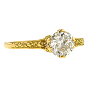 Contemporary ring: a Yellow Gold Flower Shaped Old European Cut Diamond Heirloom Engagement ring sold by Doyle & Doyle vintage and antique jewelry boutique.