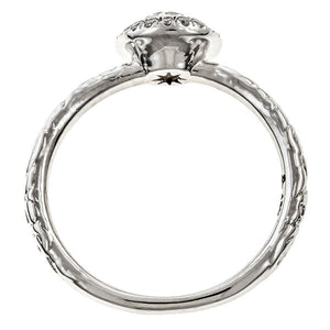 Contemporary ring: Diamond Frame Engagement Ring, Old Euro 0.50ct- Heirloom sold by Doyle & Doyle vintage and antique jewelry boutique.