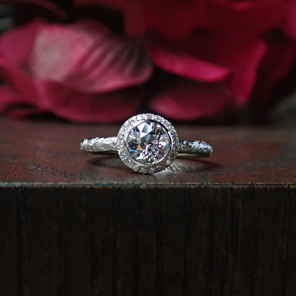 Heirloom by Doyle & Doyle Old European cut diamond halo engagement ring BE-0032-RB-8W
