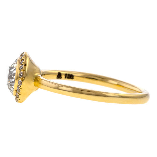 Contemporary ring: a Yellow Gold Diamond Frame Engagement Ring-Heirloom Old Euro 0.80ct sold  by Doyle & Doyle vintage and antique jewelry boutique.