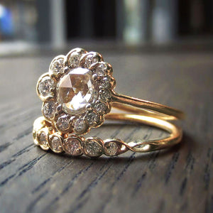 Heirloom Crescent Rose cut Diamond Engagement Ring BE-0166-RA-8Y