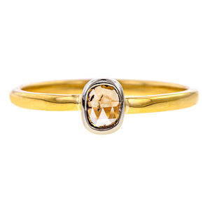 Contemporary ring: a Yellow Gold Cushion Cut Solitaire Diamond Heirloom Engagement Ring sold by Doyle & Doyle vintage and antique jewelry boutique.