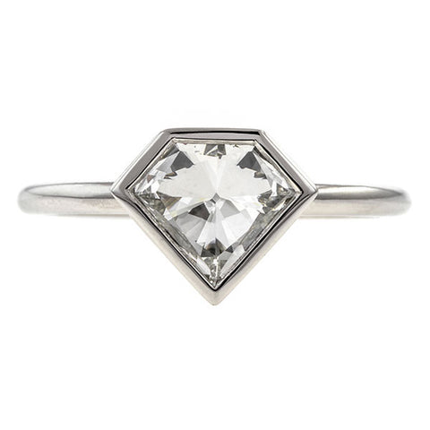 Modified Shield Cut Diamond Solitaire Engagement Ring- Heirloom by Doyle & Doyle