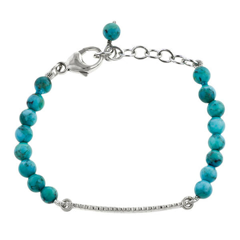 Child's ID Bracelet- Scalloped Edge w Turquoise- Heirloom by Doyle & Doyle