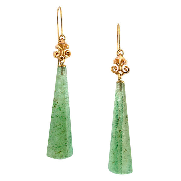 Contemporary earrings: a Rose Gold Aventurine Geometric Drop Earrings sold by Doyle & Doyle vintage and antique jewelry boutique.