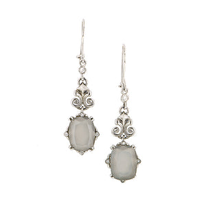 _Cushion Moonstone Diamond Drop Earrings Heirloom by Doyle & Doyle