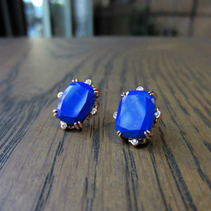 Cushion Lapis & Diamond Earrings- Heirloom by Doyle & Doyle