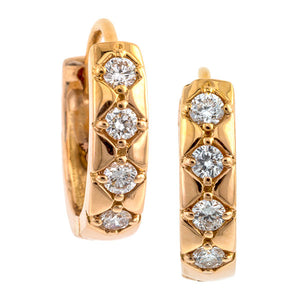 Contemporary earrings: a Rose Gold Diamond Huggie Heirloom Earrings sold by Doyle & Doyle vintage and antique jewelry boutique.