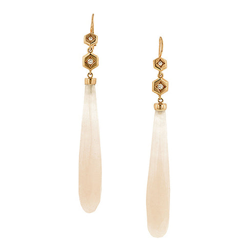 Hex Diamond Rose Quartz Drop Earrings by Doyle & Doyle