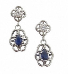 Entwined Diamond & Sapphire Drop Earrings- Heirloom by Doyle & Doyle