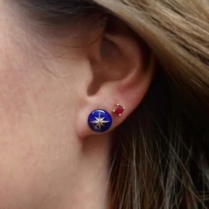 North Star Lapis Star Earrings- Heirloom by Doyle & Doyle & Square Ruby Stud Earrings