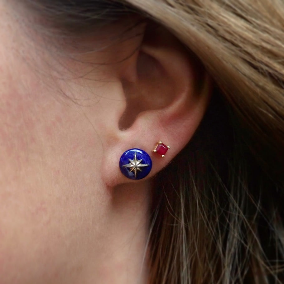 Square Ruby Stud Earrings & North Star Lapis Star Earrings- Heirloom by Doyle & Doyle