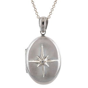 North Star Locket Small, West 13th Collection, sold by Doyle & Doyle vintage and antique jewelry boutique.