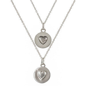 Contemporary necklace: a Sterling Silver Heart Pendant Heirloom sold by Doyle & Doyle vintage and antique jewelry boutique.