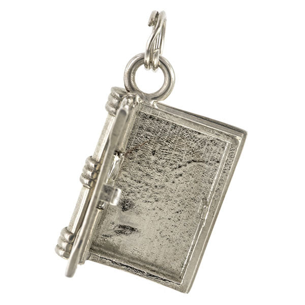 Contemporary necklace: a Sterling Silver Book Locket- Heirloom sold by Doyle & Doyle vintage and antique jewelry boutique.