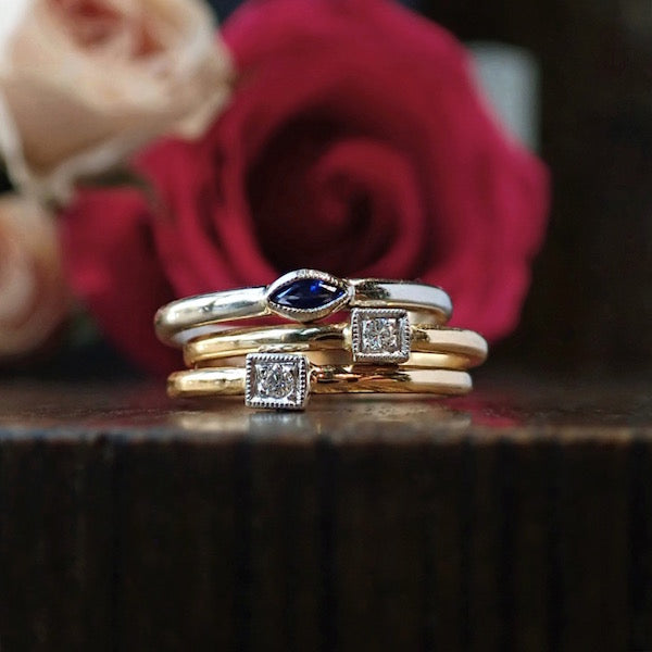 Diamond and marquise sapphire stack rings from Heirloom by Doyle & Doyle New York